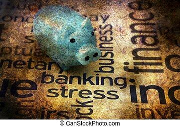 operação bancária, tensão, conceito, grunge, conceito