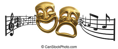A musical score waving and bending behind iconic Comedy and Tragedy theatre masks