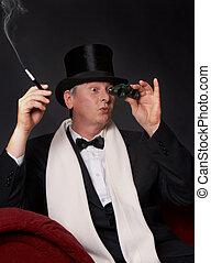 Opera glasses - Dandy figure looking through his opera ...