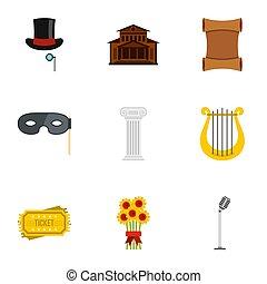 opera, ikony, komplet, płaski, styl