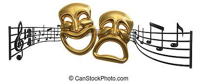 opera, och, musikalisk, teater