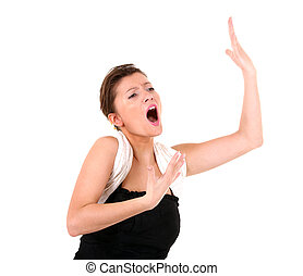 A picture of a young beautiful opera singer performing over white background