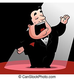 Opera Singer - A cartoon opera singer under a spotlight.