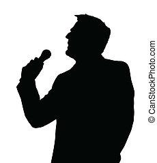 Opera Singer Silhouette - Single Male Opera Singer with...