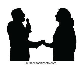 Opera Singers Silhouette - Man and Woman Duet Opera Singers...