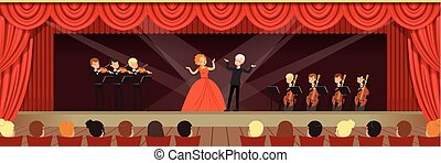 Opera singers singing on stage with symphonic orchestra...