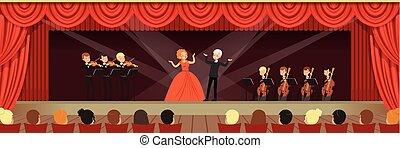 opera, szimfonikus, zenekar, ábra, kihallgatás, vektor, ...