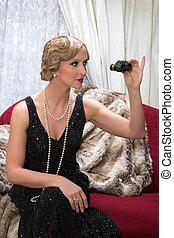 Opera visitor in twenties style