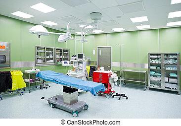 operación, cirugía, habitación vacía