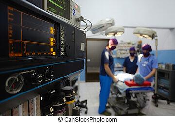 operación, habitación, en, clínica, con, personal médico, durante, cirugía