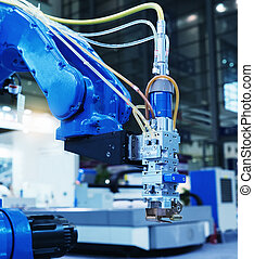 operaciones, automático, brazo del metal, robótico
