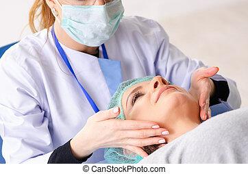 operacja, kobieta, kosmetyczny, przygotowując, plastyk