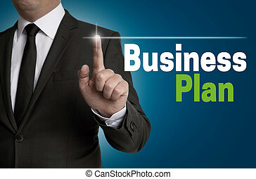 operado, hombre de negocios, touchscreen, concepto,...