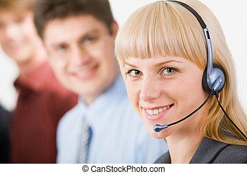 operador, amigável, telefone