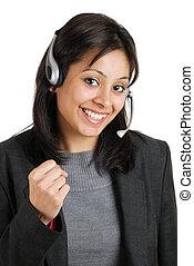 operador, comunicações, excitado, negócio