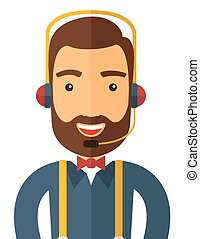 operador, headset., hombre