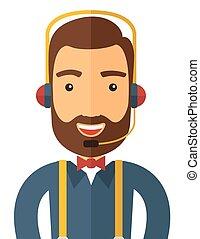 operador, headset., homem