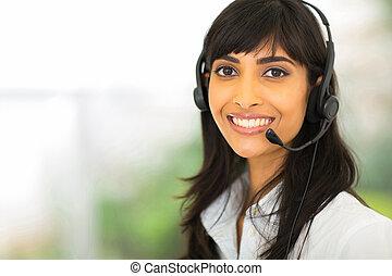 operador, indio, centro de la llamada, hembra
