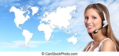 operador, internacional, contacto, centro de la llamada