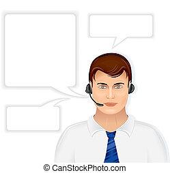 operador, macho, centro de la llamada