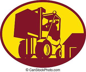 operador, operar, camión de elevador de carga