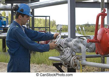 operador, producción, gas