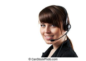 operador, sonriente, centro de la llamada, aislado