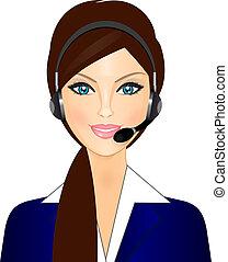operador, sonriente, teléfono
