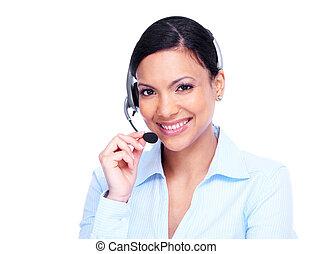 operador, woman., centro de la llamada, empresa / negocio