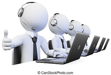 operadores, centro chamada, trabalhando, 3d
