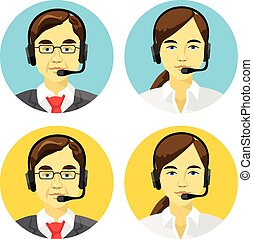 operadores, centro de la llamada, avatars