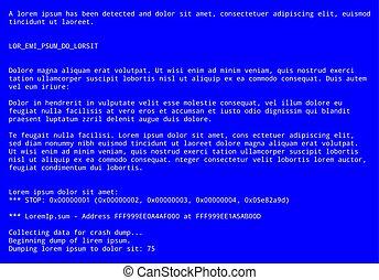 operando, mensagem, erro sistema, tela azul