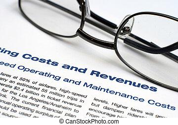 operar, costes, y, rentas