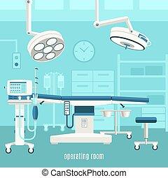 operar, médico, diseño, habitación, cartel