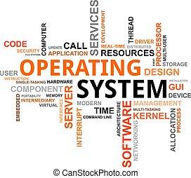 operar, nube, -, sistema, palabra
