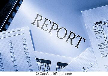 operar, presupuesto, calendario, y, informe