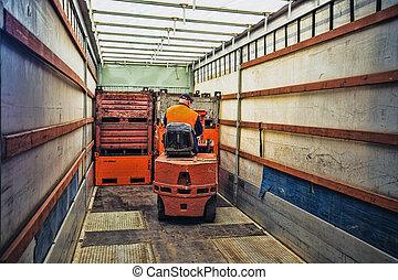 operario carretilla elevadora, en el trabajo, en, almacén