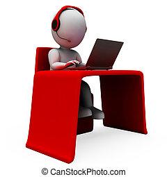 operatör, helpdesk, hotline, stöd, visar