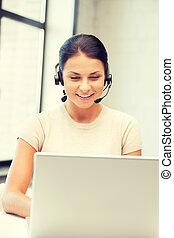 operatör, laptop, helpline, dator