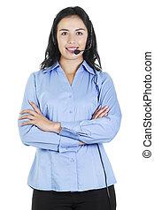 operatör, option att köpa centrera, kvinnlig