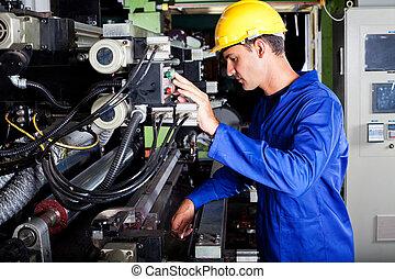 operatör, press, tryckning, fungerande, industriell