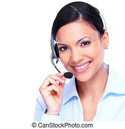 operatör, woman., option att köpa centrera, affär