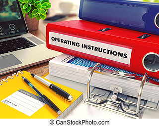 Operating Instructions on Red Office Folder. Toned Image. -...