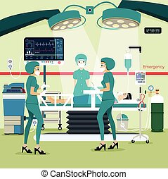 operating Room - Team doctors in the operating room with the...