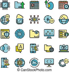 Operating system icons set vector flat