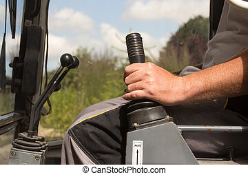 Operating the shift lever of an excavator