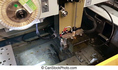 Operation of arc cutting machine, close-up - Manufacturing....