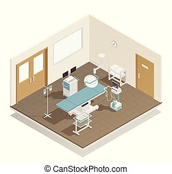 Operation Room Equipment Isometric Composition