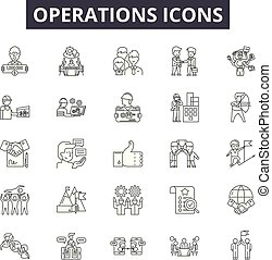 Operations line icons, signs set, vector. Operations outline concept, illustration: business, management, process, technology, operations, gear, concept