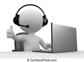 Operator - 3d people - man, person with a Headphones with ...